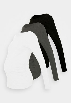 3 PACK - Long sleeved top - black/dark grey/white