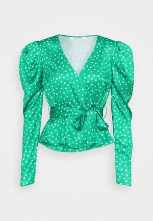 PUFF SLEEVE V NECK WRAP  - Bluser - green