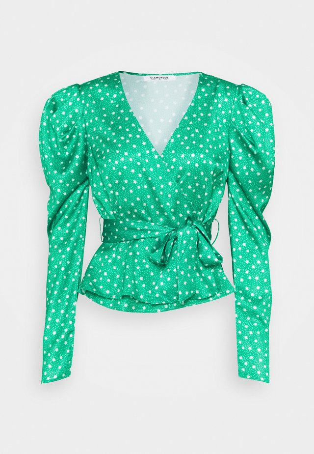 PUFF SLEEVE V NECK WRAP  - Blouse - green