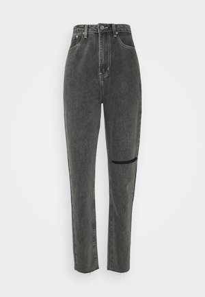 WASHED SINGLE THIGH RIP RIOT - Jeans straight leg - black