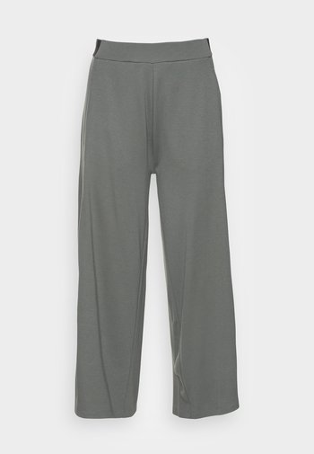 CULOTTE CROPPED LENGTH ELASTIC WAISTBAND AT BACK - Trousers - olive garden
