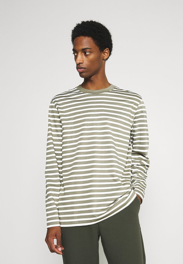 SLHRELAXCOLMAN O NECK TEE  - Langærmede T-shirts - aloe/egret