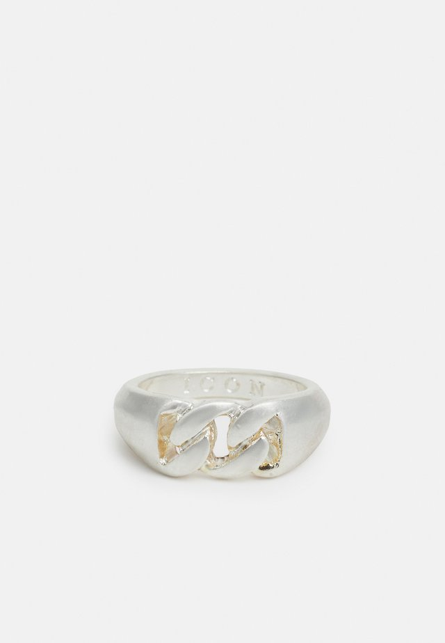CURB CHAIN FRONT SIGNET SHAPE - Ring - silver-coloured