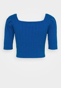Glamorous - CARE CABLE CROP TOP WITH SHORT SLEEVES AND SQUARE NECKLINE - Blouse - petrol blue - 1