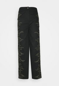 Missguided - FLAME STITCH HIGH WAISTED TROUSER - Kangashousut - black - 0