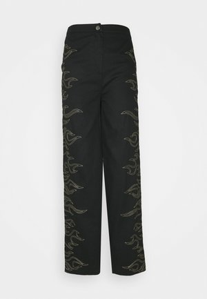 FLAME STITCH HIGH WAISTED TROUSER - Kalhoty - black