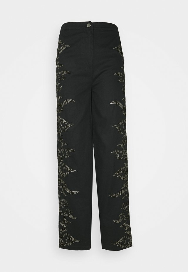 FLAME STITCH HIGH WAISTED TROUSER - Bukser - black