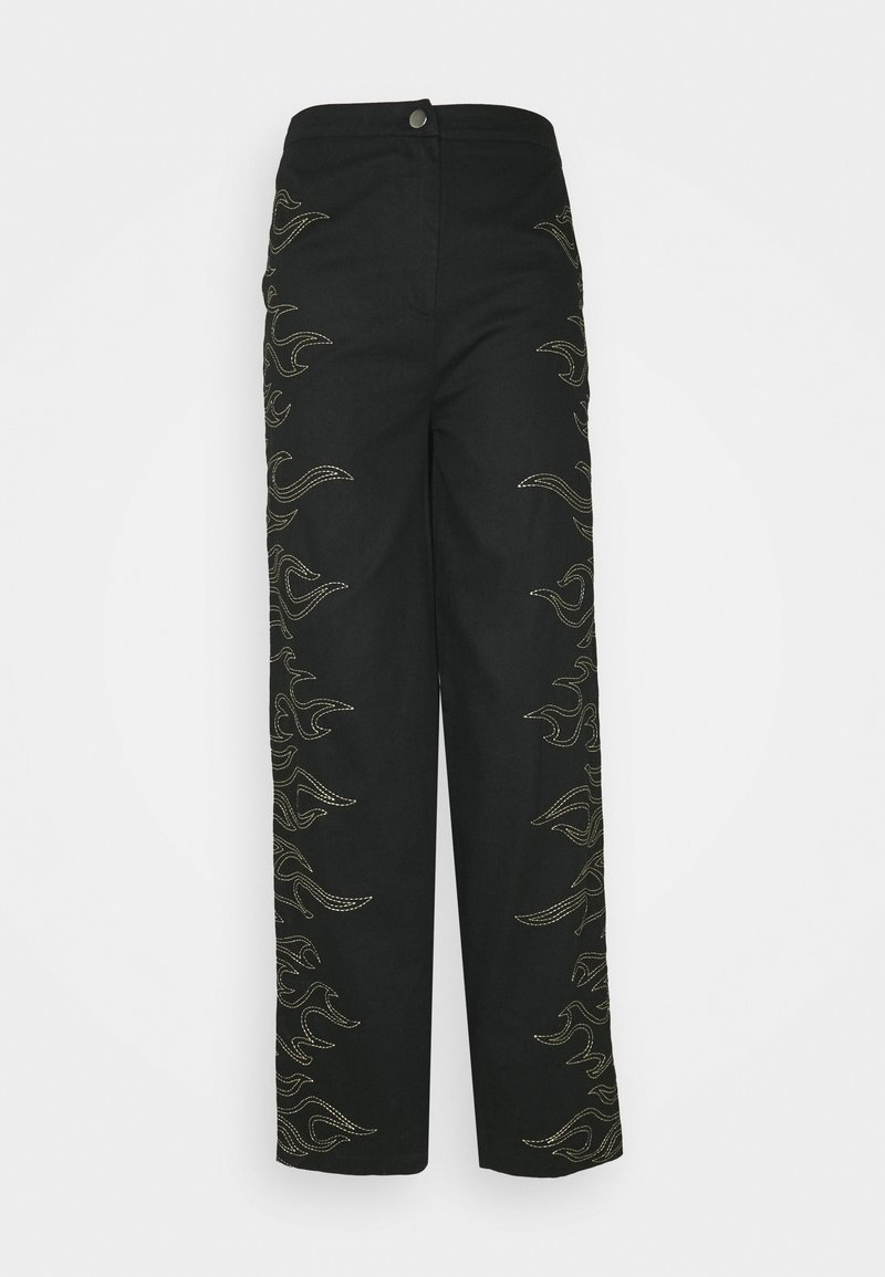 Missguided - FLAME STITCH HIGH WAISTED TROUSER - Kangashousut - black