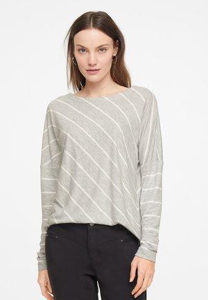 Long sleeved top - grey diagonal stripes