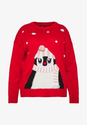 CURVES XMAS PENGUIN FAMILY JUMPER - Svetr - red