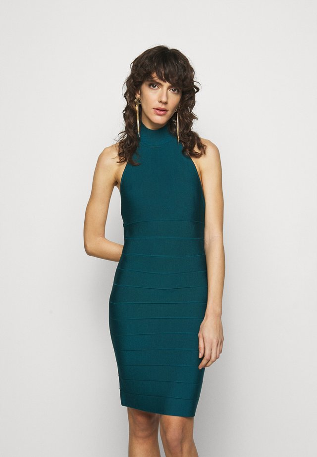 HALTER NECK DRESS - Pletené šaty - slate teal