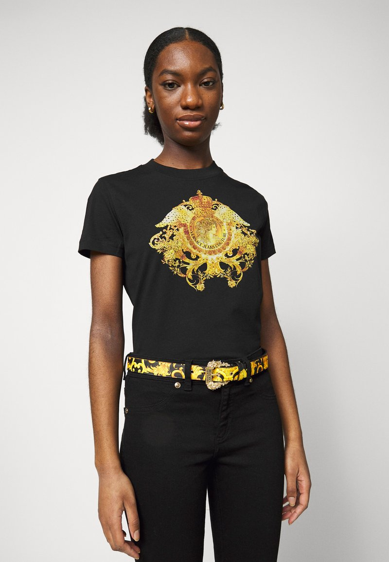 Versace Jeans Couture - BAROQUE BUCKLE - Belt - black/yellow
