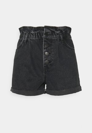 ONLCUBA LIFE PAPERBAG - Denim shorts - black denim