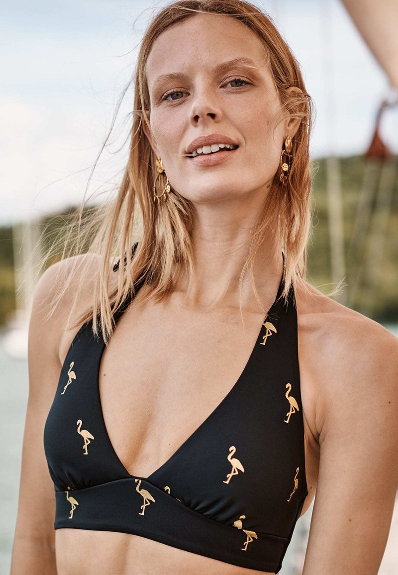Boden - Bikini top - navy, goldfolienflamingos