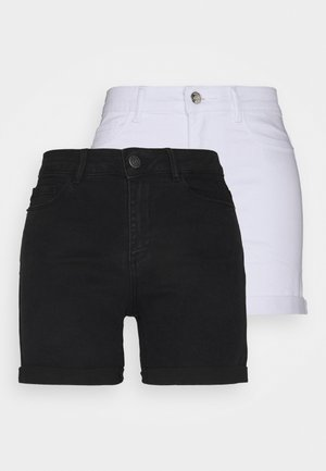 VMHOT SEVEN FOLD 2 PACK - Shorts di jeans - black/bright white