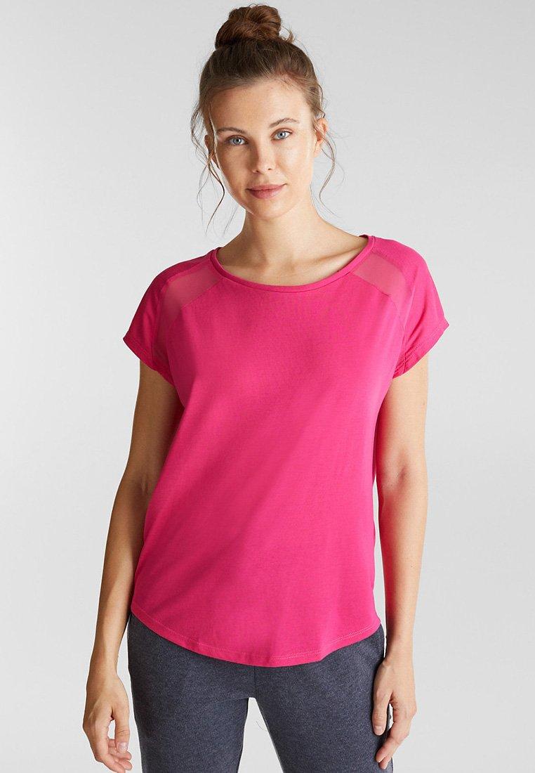 Esprit Sports - MIT NETZ-EINSATZ - Print T-shirt - pink fuchsia