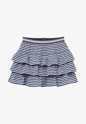MIT RÜSCHEN - A-line skirt - indigoblau/weiß