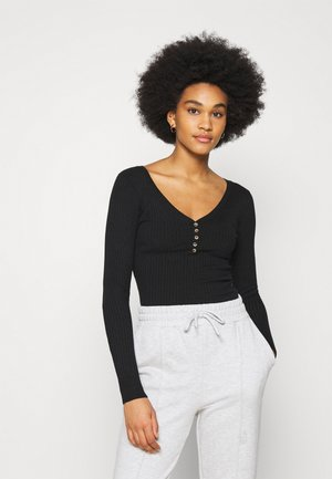 BUTTON DETAIL JUMPER - Sweter - black