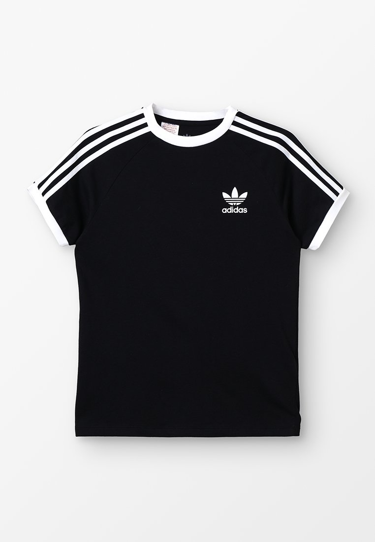adidas Originals - STRIPES  - T-shirt z nadrukiem - black/white