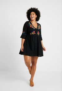 Simply Be - EMBROIDERED V NECK DRESS - Day dress - black - 2