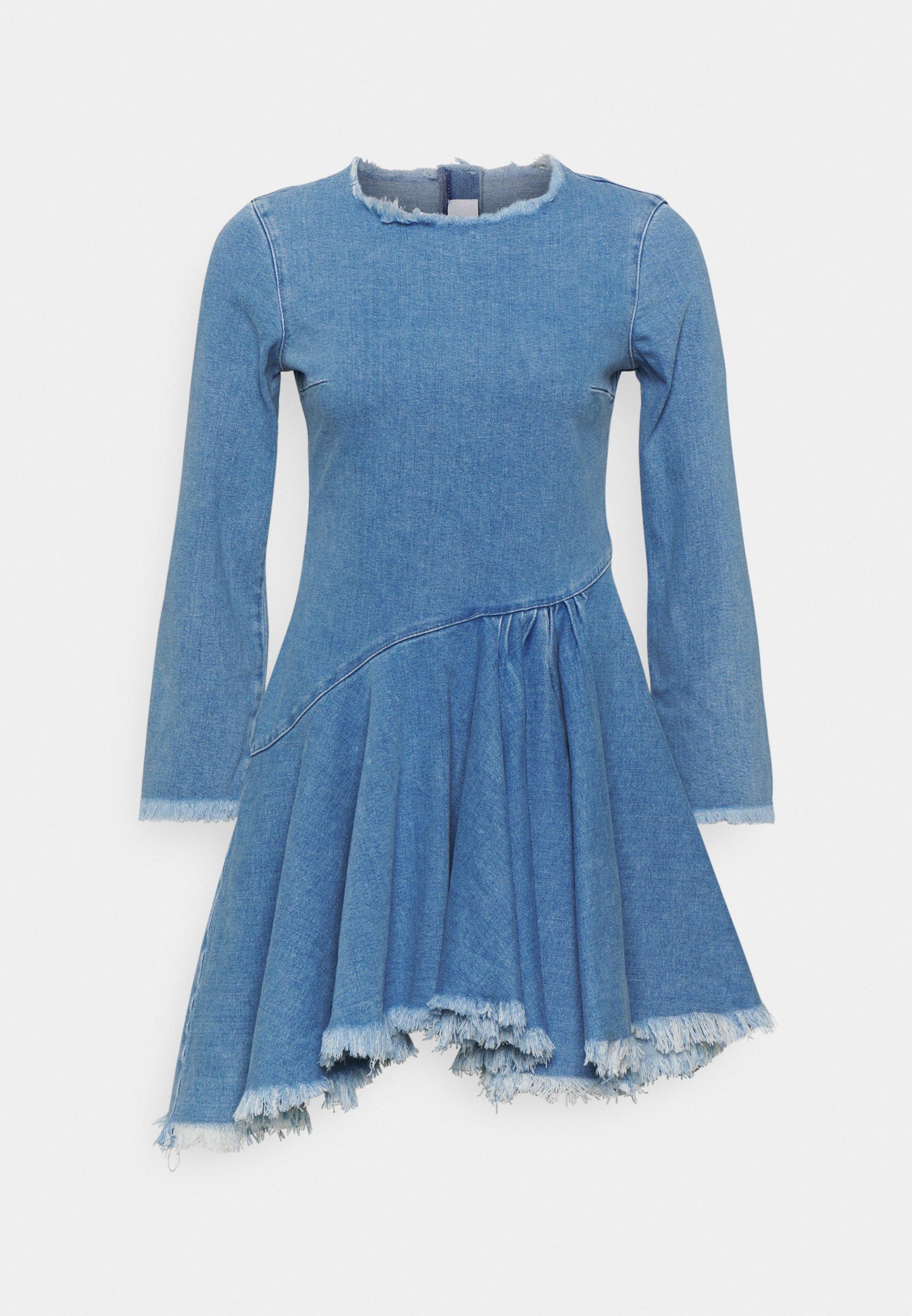 Women FRAYED DRESS - Denim dress