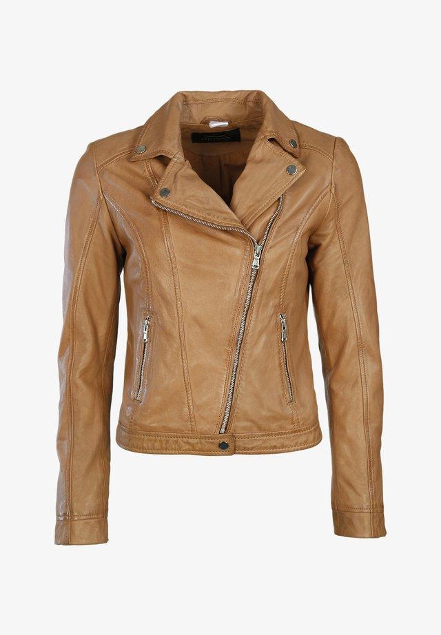 Leather jacket - teak