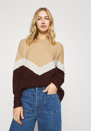 VMGINGOBLOCK O NECK - Jumper - cabernet/birch/tan