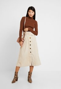 Topshop - BELTED MIDI - Maxi skirt - stone - 1