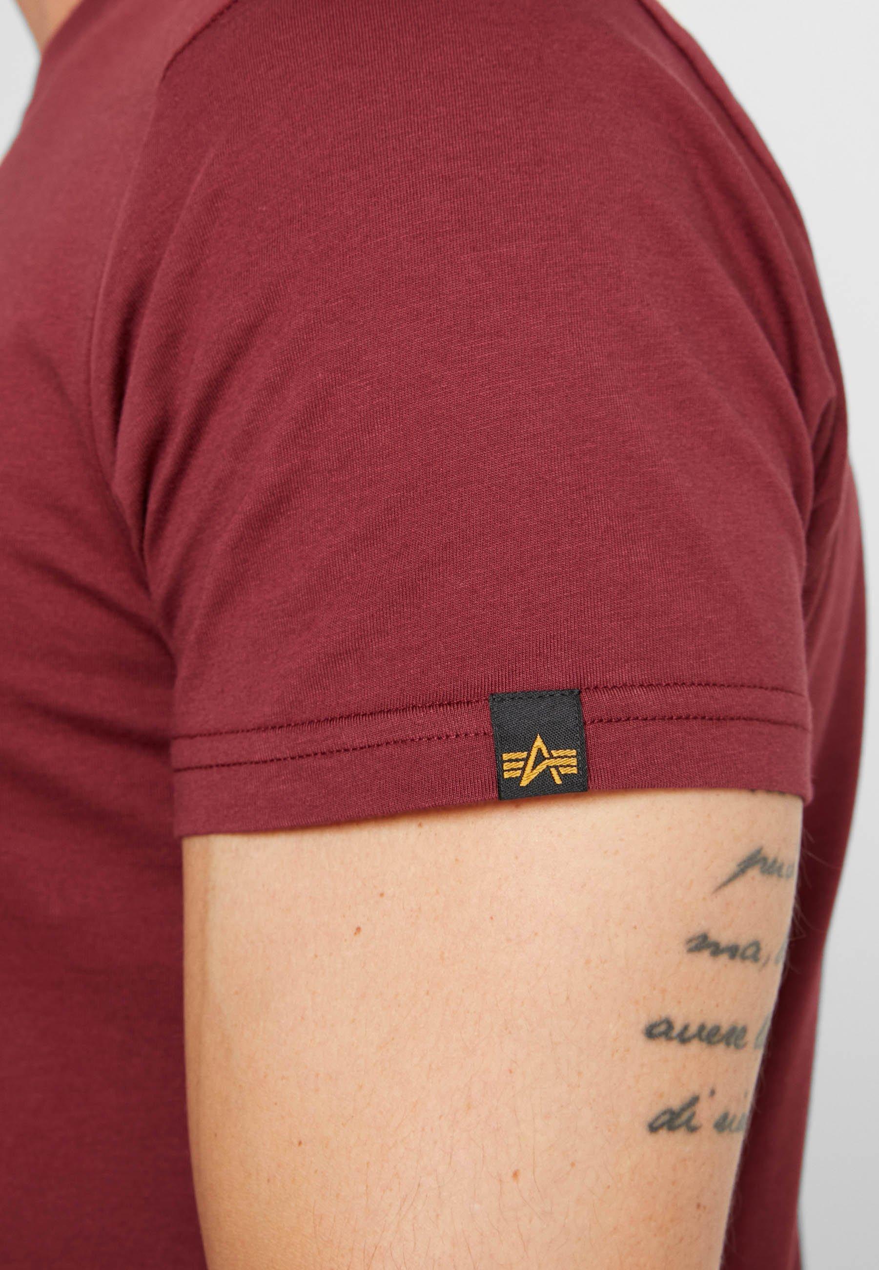 Alpha Industries BASIC - Print T-shirt - burgundy gold w7Q4p