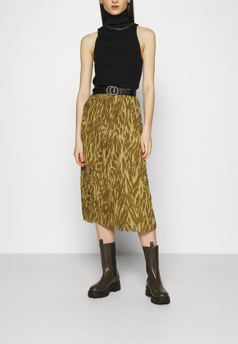 Object - OBJZANIA SKIRT - A-line skirt - khaki/animal