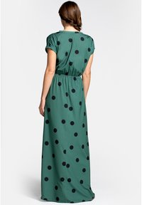 HotSquash - Maxi dress - black polka dots on green - 1