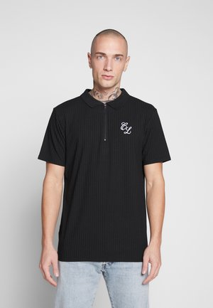 TONAL STRIPE ZIP TEE - Poloshirt - black