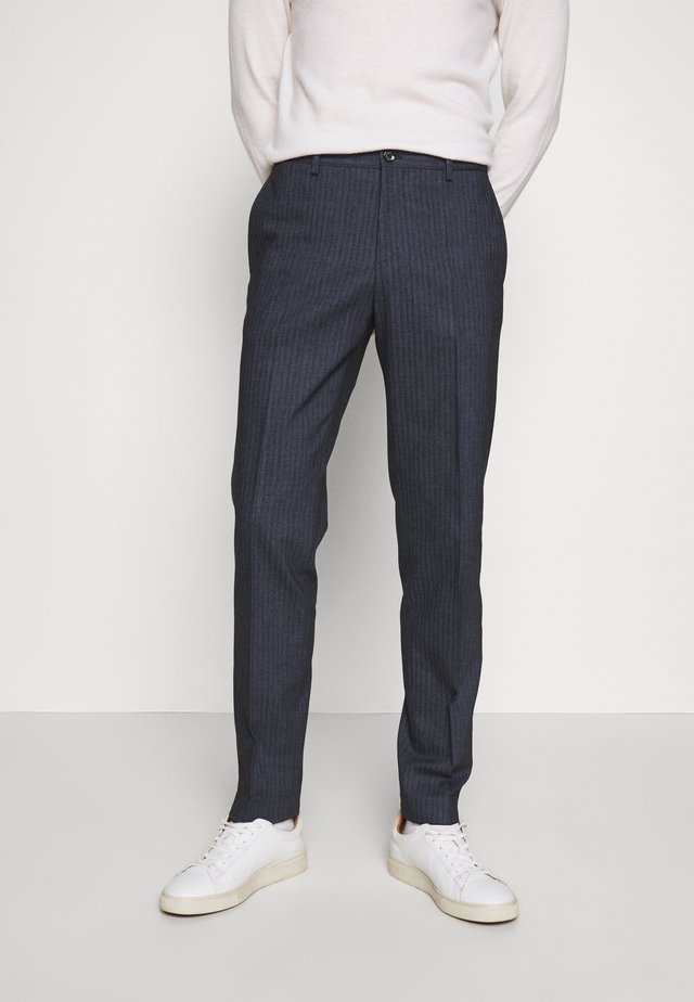 HERRINGBONE SLIM FIT PANTS - Pantaloni - black