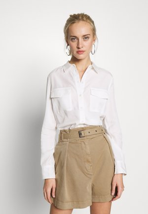 BLOUSE LONG SLEEVE PATCHED POCKETS - Paitapusero - oyster white