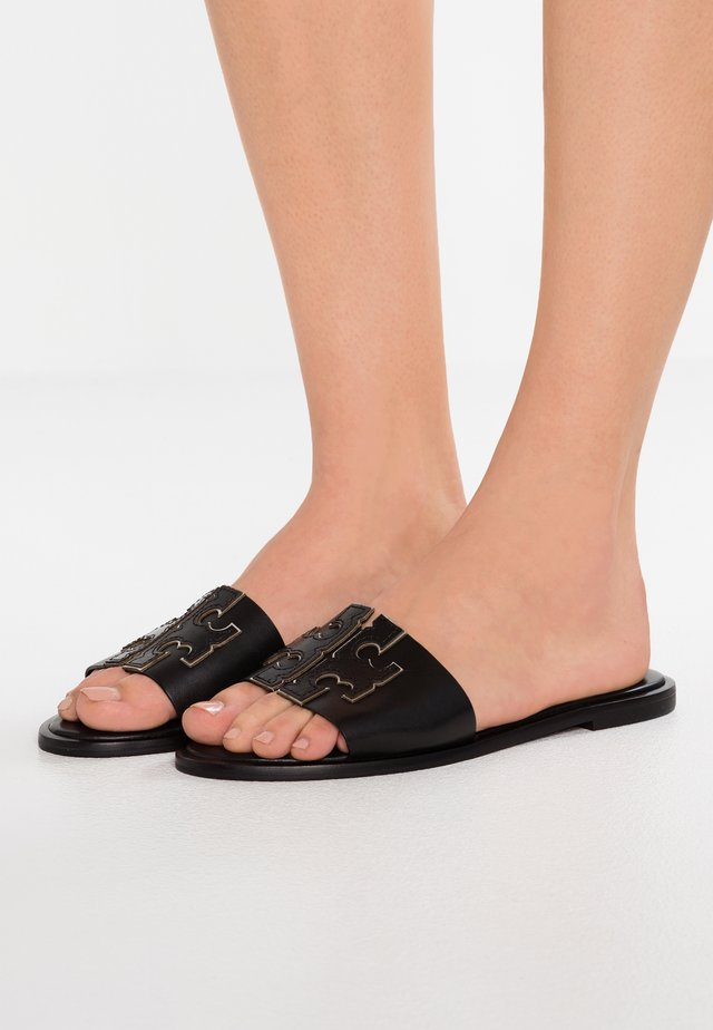 INES SLIDE - Mules - perfect black/silver