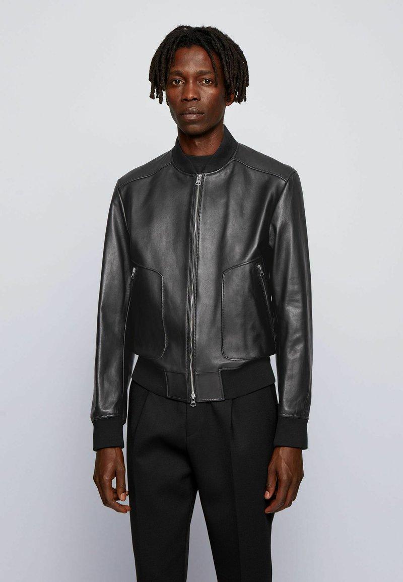 BOSS - NIPET - Leather jacket - black