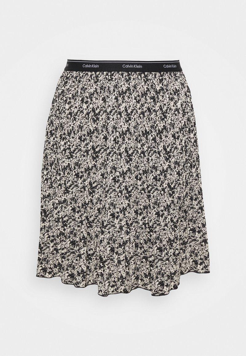 Calvin Klein - SHORT MICRO PLEAT SKIRT - Mini skirt - black/white