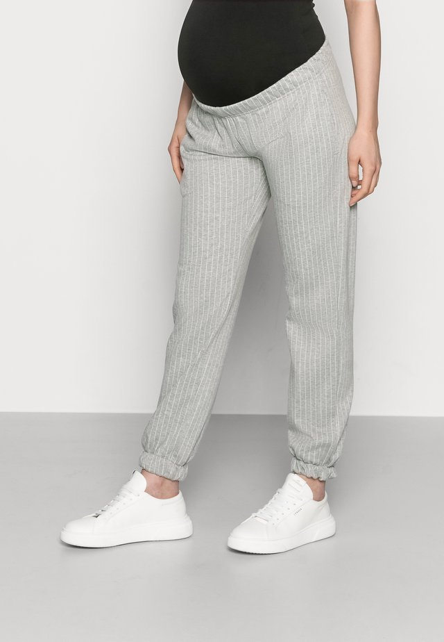 MLNICOLE PANTS - Trainingsbroek - light grey melange/white