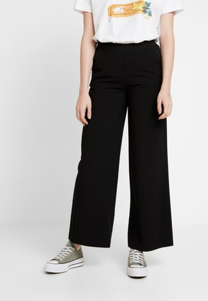 OBJCECILIE WIDE PANTS - Trousers - black