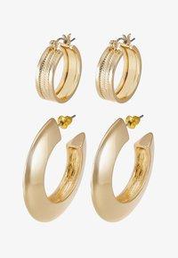 SHARP EDGE THICK HOOPS 2 SET - Earrings - gold-coloured