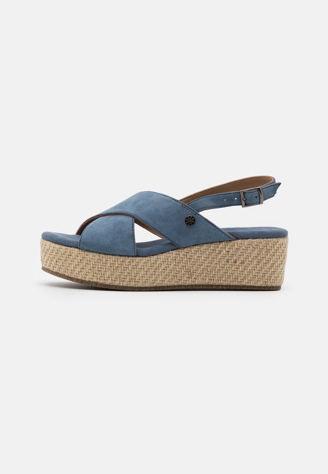LEATHER - Korkeakorkoiset sandaalit - blue