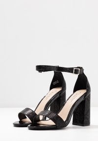 Miss Selfridge Wide Fit - WIDE FIT STEPH BLOCK HEEL BARELY THERE - High heeled sandals - black - 4