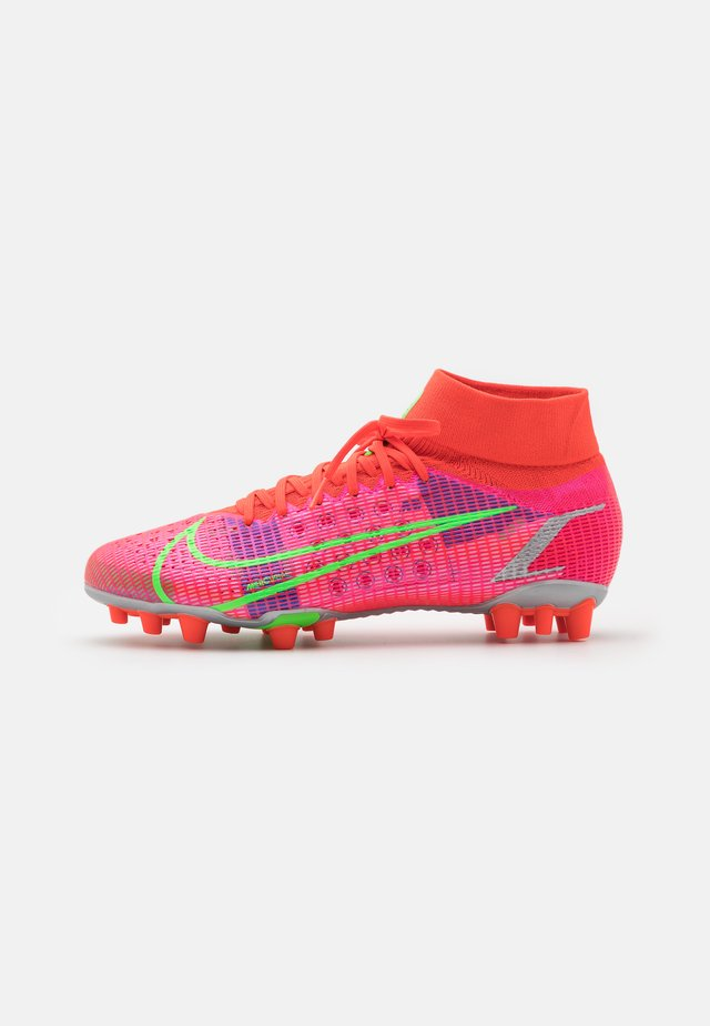 MERCURIAL 8 PRO AG - Moulded stud football boots - bright crimson/metallic silver