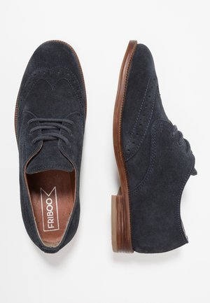 LEATHER - Derbies - dark blue