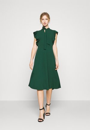 RUFFLE SLEEVE DRESS - Cocktail dress / Party dress - forest green
