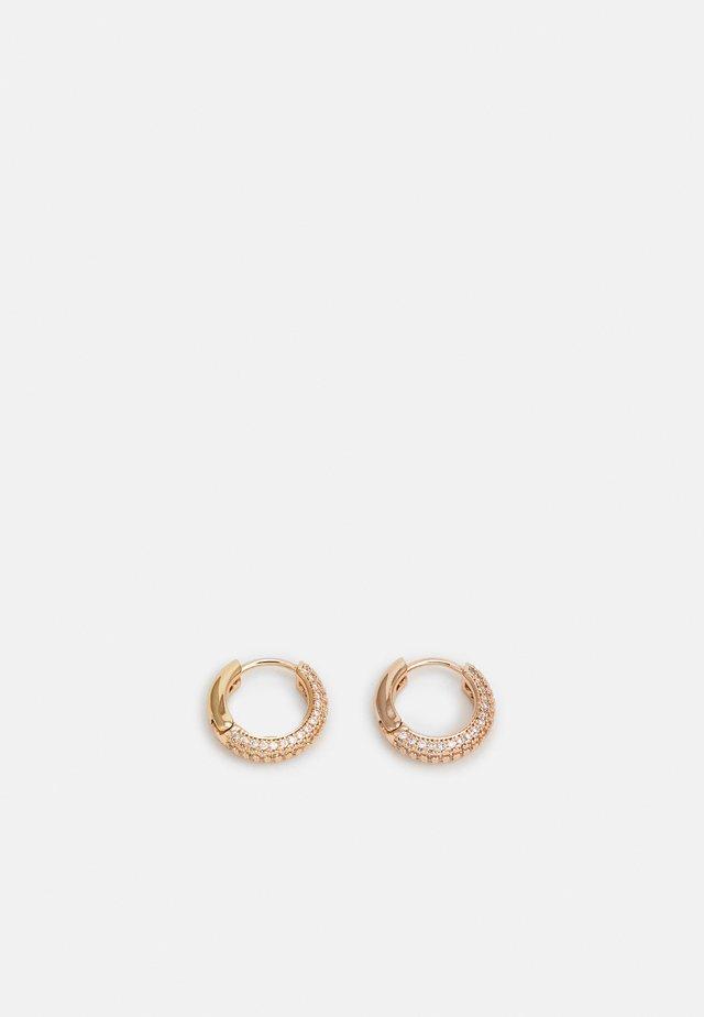 PAVE MINI HUGGIES - Orecchini - clear/rose gold-coloured