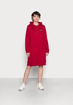 REGULAR SCRIPT HOODIE DRESS - Denní šaty - raspberry juice