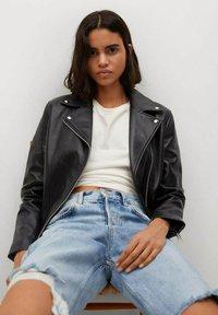 Mango - Leather jacket - schwarz - 4