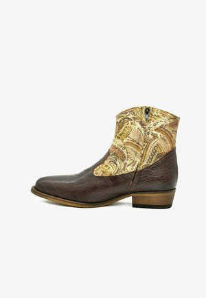 Cowboy-/Bikerlaarsjes - coffee brown croco