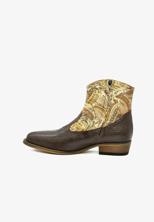 Cowboy-/Bikerlaarsjes - coffee brown croco